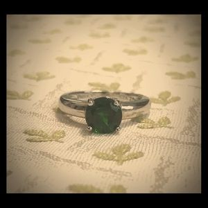 Chrome Diopside Solitaire Sterling Silver Ring